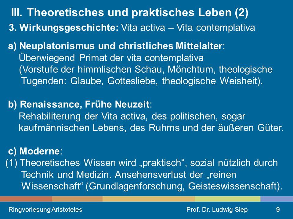 Ringvorlesung AristotelesProf.Dr. Ludwig Siep9 III.