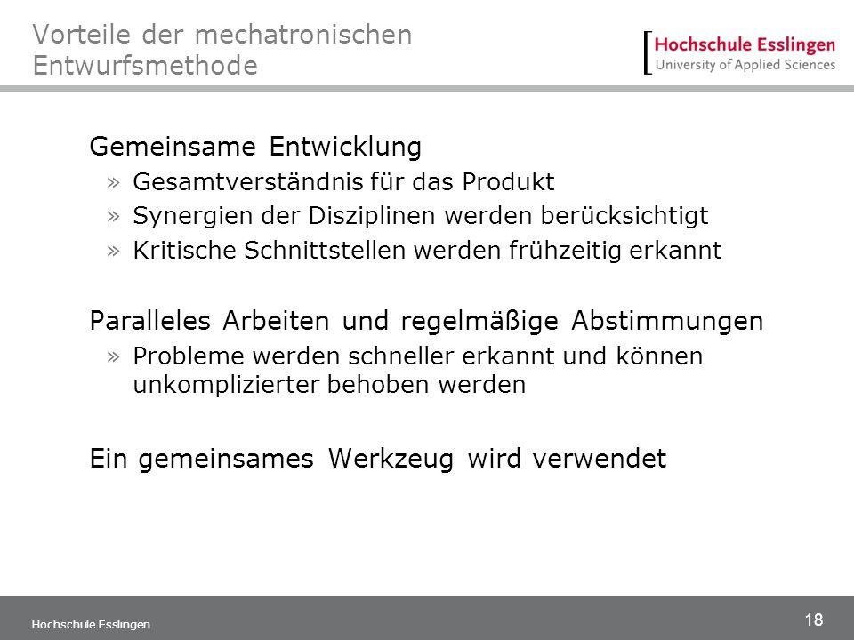 18 Hochschule Esslingen Vorteile der mechatronischen Entwurfsmethode Gemeinsame Entwicklung »Gesamtverständnis für das Produkt »Synergien der Diszipli