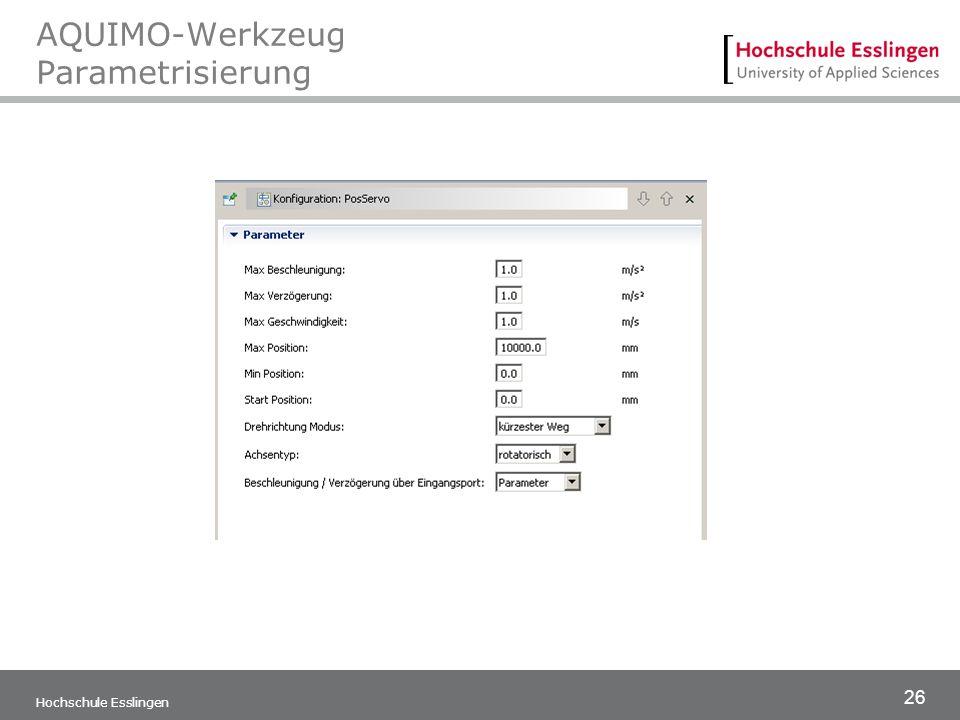 26 Hochschule Esslingen AQUIMO-Werkzeug Parametrisierung