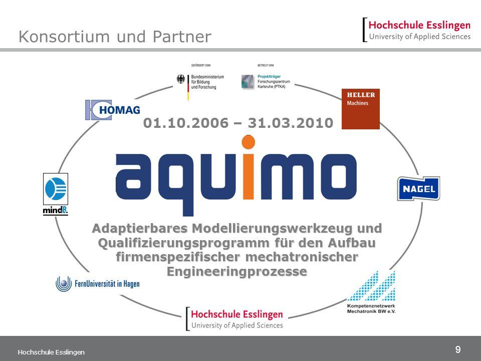 9 Konsortium und Partner Hochschule Esslingen Adaptierbares Modellierungswerkzeug und Qualifizierungsprogramm für den Aufbau firmenspezifischer mechat