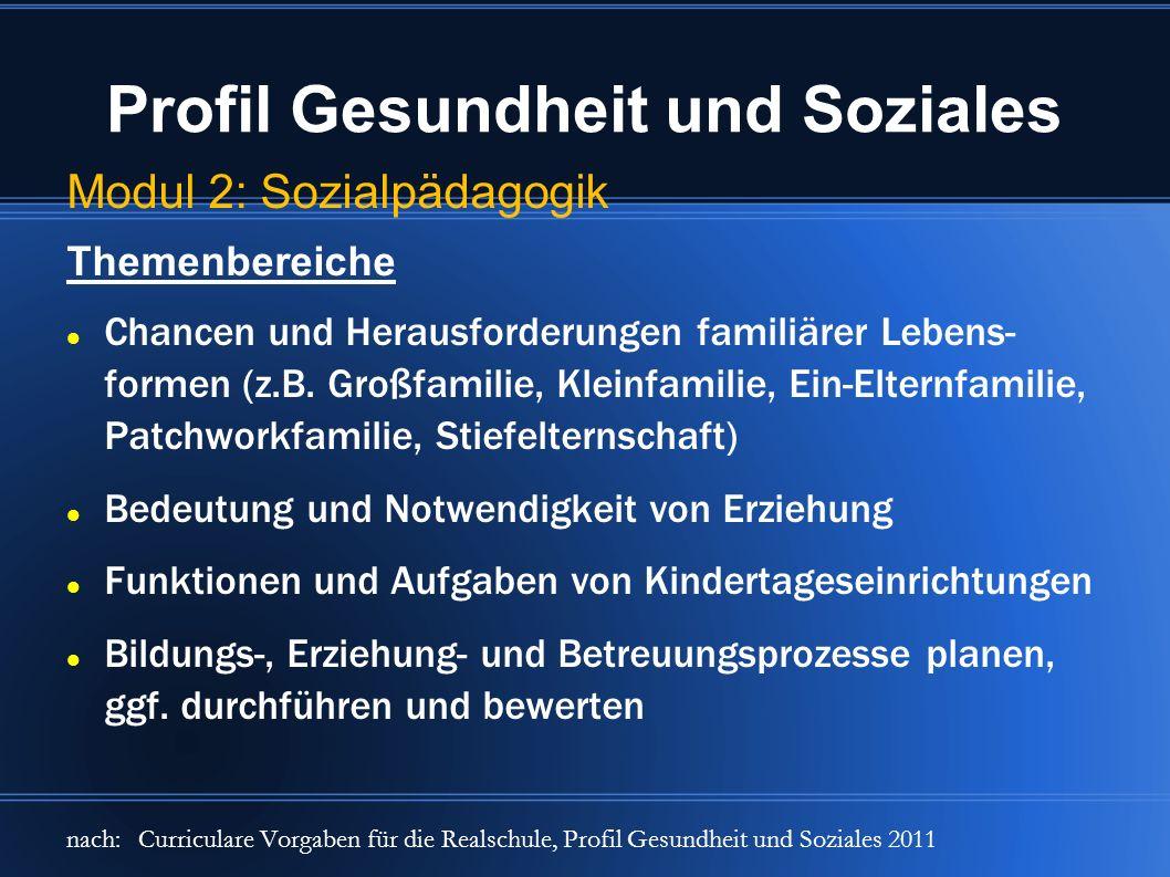 Profil Gesundheit und Soziales Modul 2: Sozialpädagogik Themenbereiche Chancen und Herausforderungen familiärer Lebens- formen (z.B. Großfamilie, Klei
