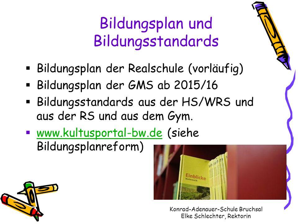 Bildungsplan und Bildungsstandards Konrad-Adenauer-Schule Bruchsal Elke Schlechter, Rektorin Bildungsplan der Realschule (vorläufig) Bildungsplan der