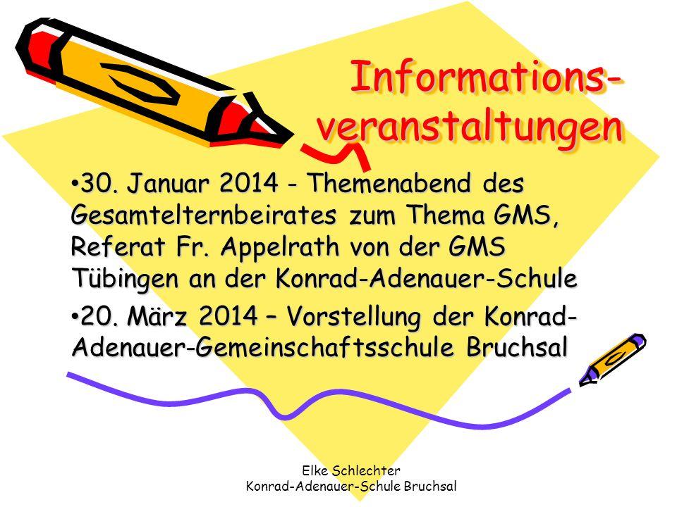 Informations- veranstaltungen 30. Januar 2014 - Themenabend des Gesamtelternbeirates zum Thema GMS, Referat Fr. Appelrath von der GMS Tübingen an der