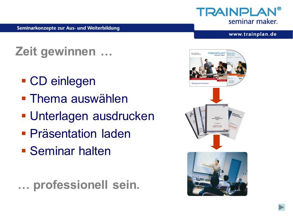 Folie 11 ©TRAINPLAN ® 2006 Zeit gewinnen … CD einlegen Thema auswählen Unterlagen ausdrucken Präsentation laden Seminar halten … professionell sein.