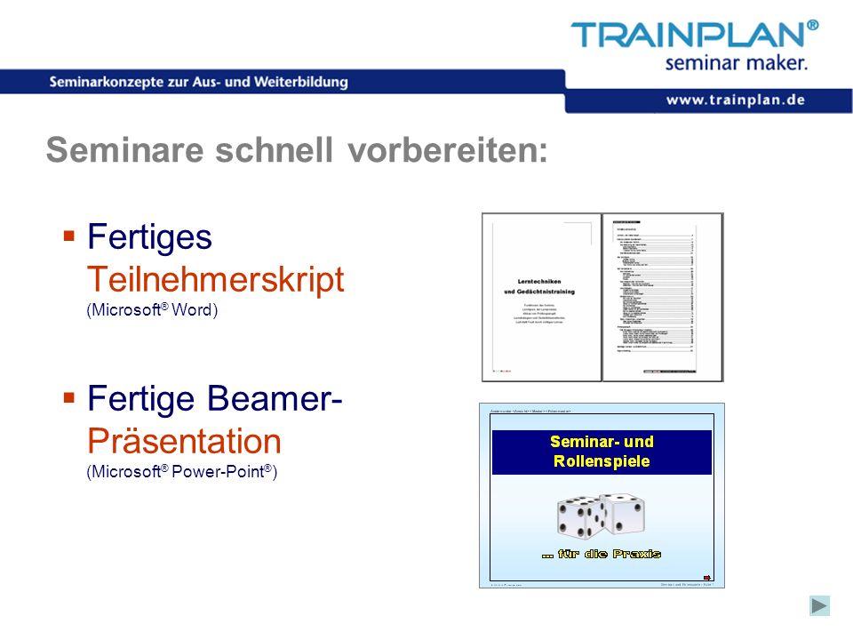 Folie 12 ©TRAINPLAN ® 2006 Seminare schnell vorbereiten: Fertiges Teilnehmerskript (Microsoft ® Word) Fertige Beamer- Präsentation (Microsoft ® Power-