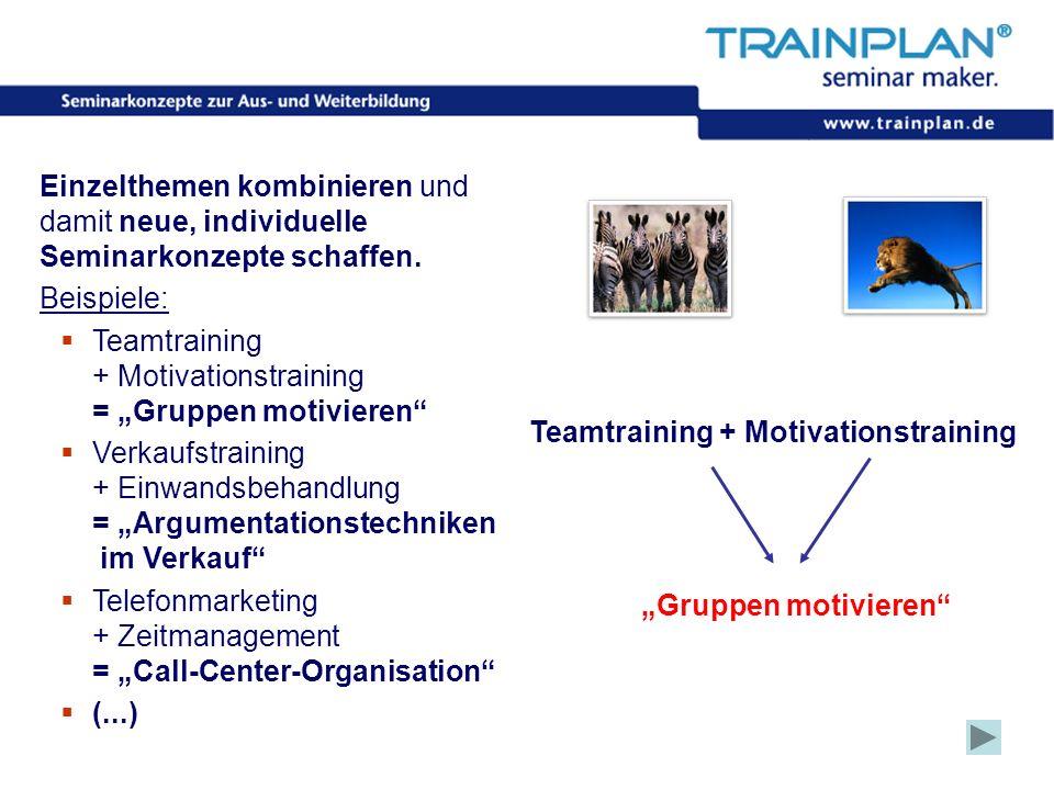 Folie 15 ©TRAINPLAN ® 2006 Einzelthemen kombinieren und damit neue, individuelle Seminarkonzepte schaffen. Beispiele: Teamtraining + Motivationstraini