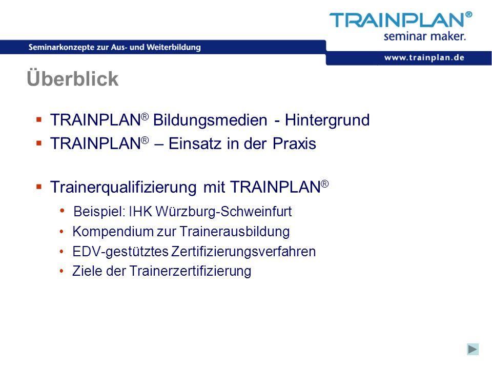 Folie 2 ©TRAINPLAN ® 2006 Überblick TRAINPLAN ® Bildungsmedien - Hintergrund TRAINPLAN ® – Einsatz in der Praxis Trainerqualifizierung mit TRAINPLAN ®