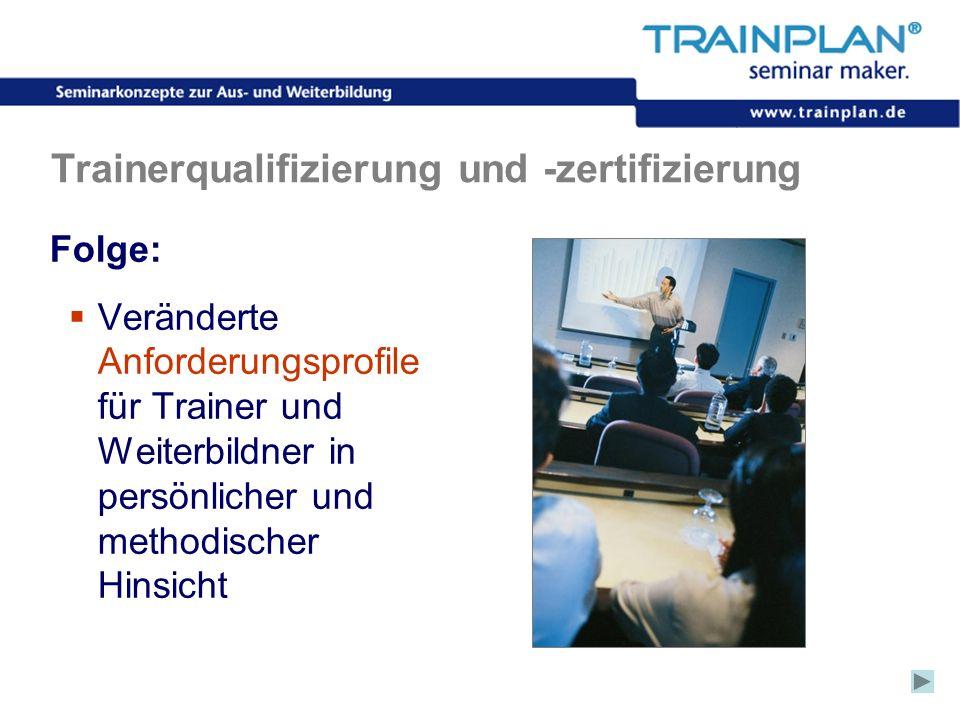 Folie 25 ©TRAINPLAN ® 2006 Trainerqualifizierung und -zertifizierung Folge: Veränderte Anforderungsprofile für Trainer und Weiterbildner in persönlich