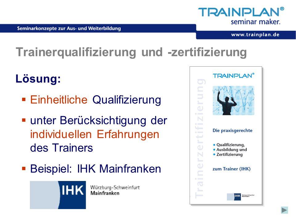Folie 27 ©TRAINPLAN ® 2006 Trainerqualifizierung und -zertifizierung Lösung: Einheitliche Qualifizierung unter Berücksichtigung der individuellen Erfa