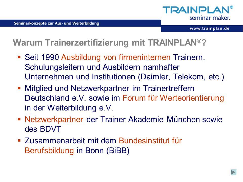 Folie 29 ©TRAINPLAN ® 2006 Warum Trainerzertifizierung mit TRAINPLAN ® ? Seit 1990 Ausbildung von firmeninternen Trainern, Schulungsleitern und Ausbil