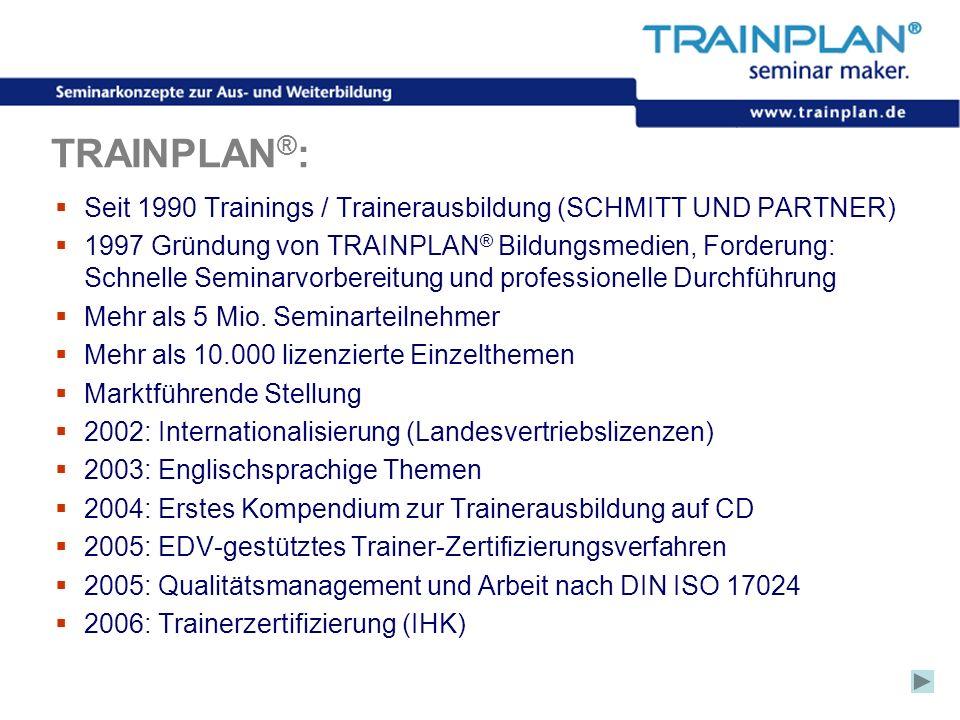 Folie 3 ©TRAINPLAN ® 2006 TRAINPLAN ® : Seit 1990 Trainings / Trainerausbildung (SCHMITT UND PARTNER) 1997 Gründung von TRAINPLAN ® Bildungsmedien, Fo