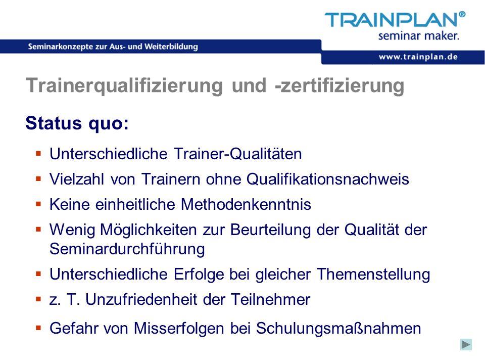 Folie 30 ©TRAINPLAN ® 2006 Trainerqualifizierung und -zertifizierung Status quo: Unterschiedliche Trainer-Qualitäten Vielzahl von Trainern ohne Qualif