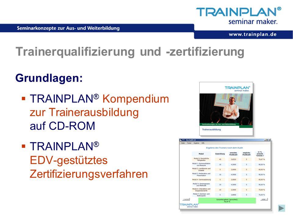 Folie 32 ©TRAINPLAN ® 2006 Trainerqualifizierung und -zertifizierung Grundlagen: TRAINPLAN ® Kompendium zur Trainerausbildung auf CD-ROM TRAINPLAN ® E