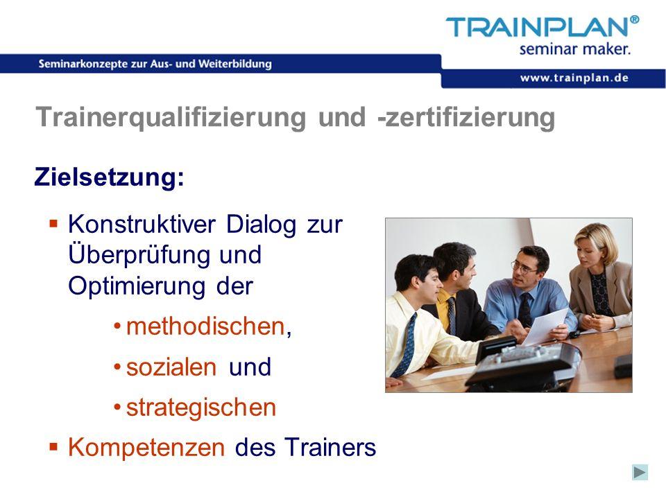 Folie 33 ©TRAINPLAN ® 2006 Trainerqualifizierung und -zertifizierung Zielsetzung: Konstruktiver Dialog zur Überprüfung und Optimierung der methodische