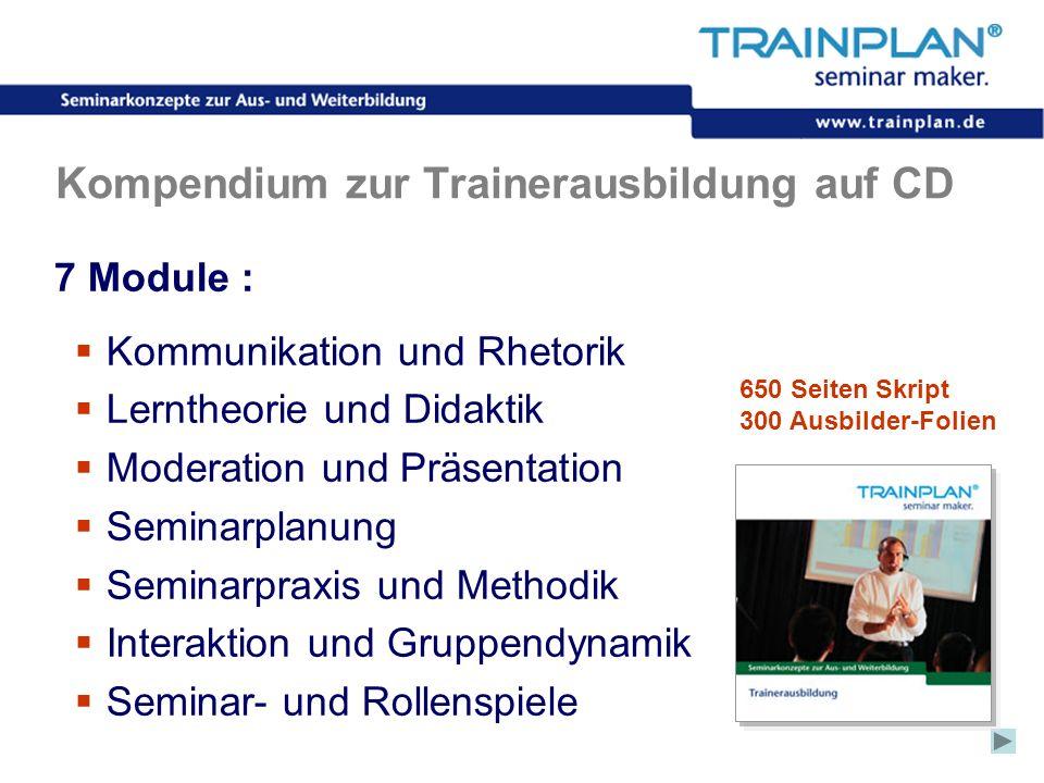 Folie 34 ©TRAINPLAN ® 2006 Kompendium zur Trainerausbildung auf CD 7 Module : Kommunikation und Rhetorik Lerntheorie und Didaktik Moderation und Präse