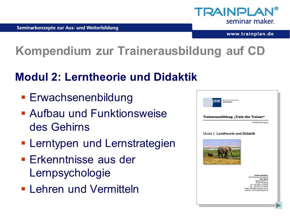 Folie 36 ©TRAINPLAN ® 2006 Kompendium zur Trainerausbildung auf CD Modul 2: Lerntheorie und Didaktik Erwachsenenbildung Aufbau und Funktionsweise des