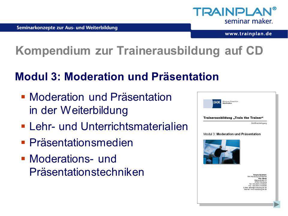 Folie 37 ©TRAINPLAN ® 2006 Kompendium zur Trainerausbildung auf CD Modul 3: Moderation und Präsentation Moderation und Präsentation in der Weiterbildu