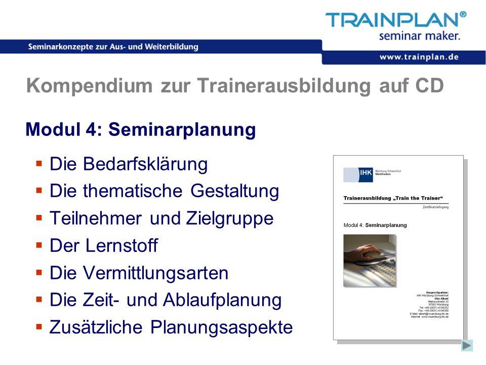 Folie 38 ©TRAINPLAN ® 2006 Kompendium zur Trainerausbildung auf CD Modul 4: Seminarplanung Die Bedarfsklärung Die thematische Gestaltung Teilnehmer un