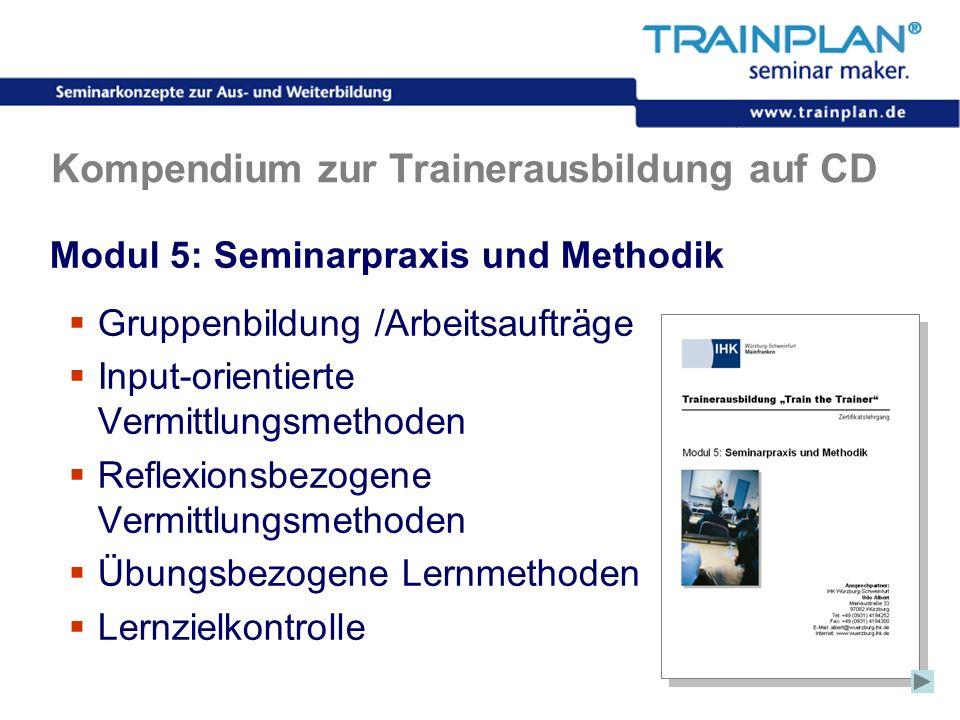 Folie 39 ©TRAINPLAN ® 2006 Kompendium zur Trainerausbildung auf CD Modul 5: Seminarpraxis und Methodik Gruppenbildung /Arbeitsaufträge Input-orientier