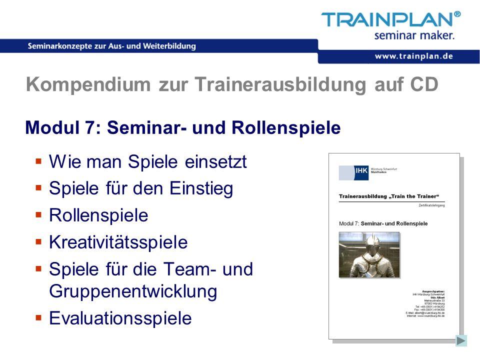 Folie 41 ©TRAINPLAN ® 2006 Kompendium zur Trainerausbildung auf CD Modul 7: Seminar- und Rollenspiele Wie man Spiele einsetzt Spiele für den Einstieg