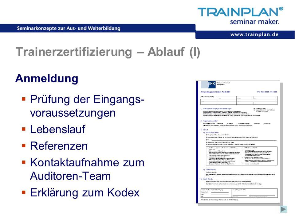 Folie 42 ©TRAINPLAN ® 2006 Trainerzertifizierung – Ablauf (I) Anmeldung Prüfung der Eingangs- voraussetzungen Lebenslauf Referenzen Kontaktaufnahme zu