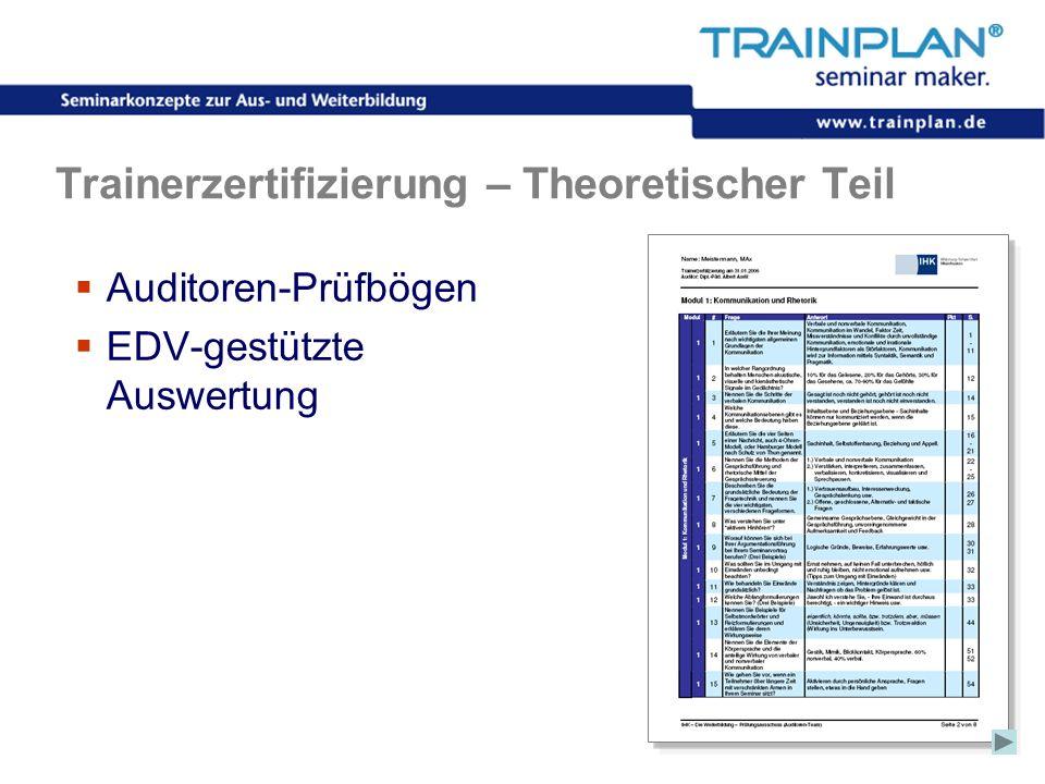 Folie 49 ©TRAINPLAN ® 2006 Trainerzertifizierung – Theoretischer Teil Auditoren-Prüfbögen EDV-gestützte Auswertung