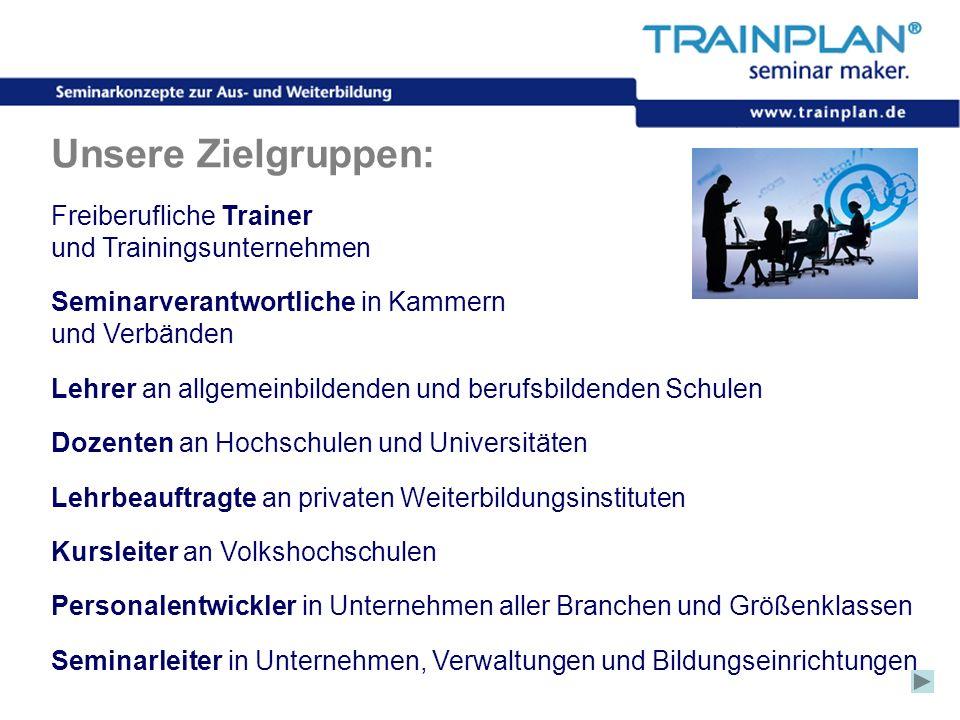 Folie 5 ©TRAINPLAN ® 2006 Unsere Zielgruppen: Freiberufliche Trainer und Trainingsunternehmen Seminarverantwortliche in Kammern und Verbänden Lehrer a