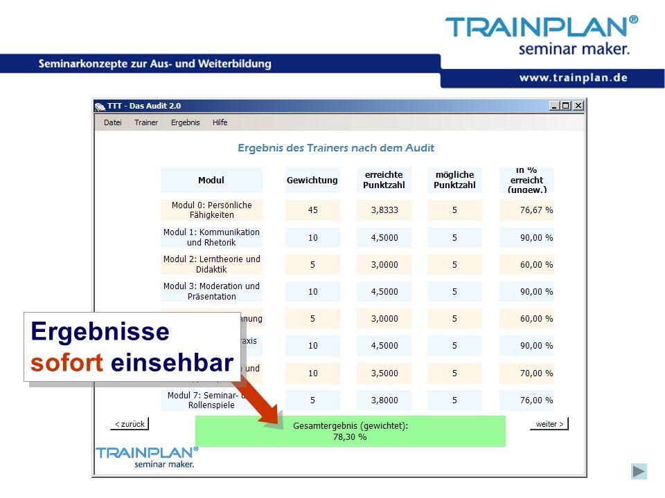 Folie 52 ©TRAINPLAN ® 2006 Ergebnisse sofort einsehbar Ergebnisse sofort einsehbar