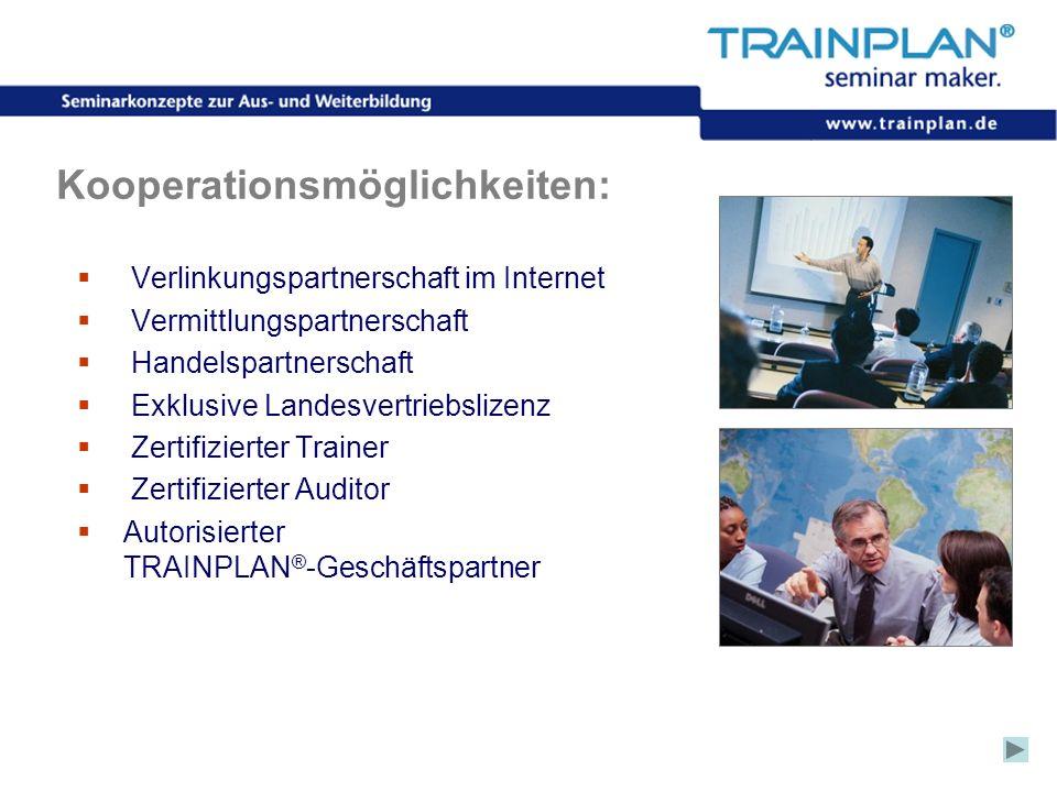 Folie 59 ©TRAINPLAN ® 2006 Kooperationsmöglichkeiten: Verlinkungspartnerschaft im Internet Vermittlungspartnerschaft Handelspartnerschaft Exklusive La