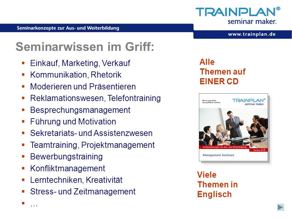 Folie 6 ©TRAINPLAN ® 2006 Seminarwissen im Griff: Einkauf, Marketing, Verkauf Kommunikation, Rhetorik Moderieren und Präsentieren Reklamationswesen, T