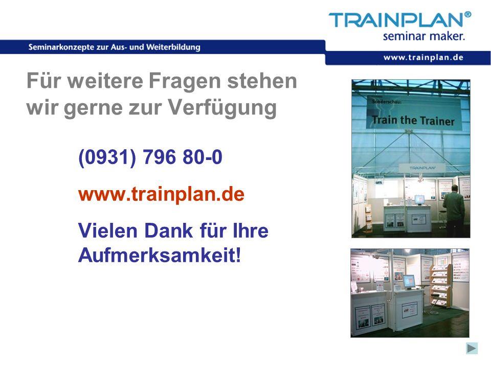 Folie 60 ©TRAINPLAN ® 2006 Für weitere Fragen stehen wir gerne zur Verfügung (0931) 796 80-0 www.trainplan.de Vielen Dank für Ihre Aufmerksamkeit!