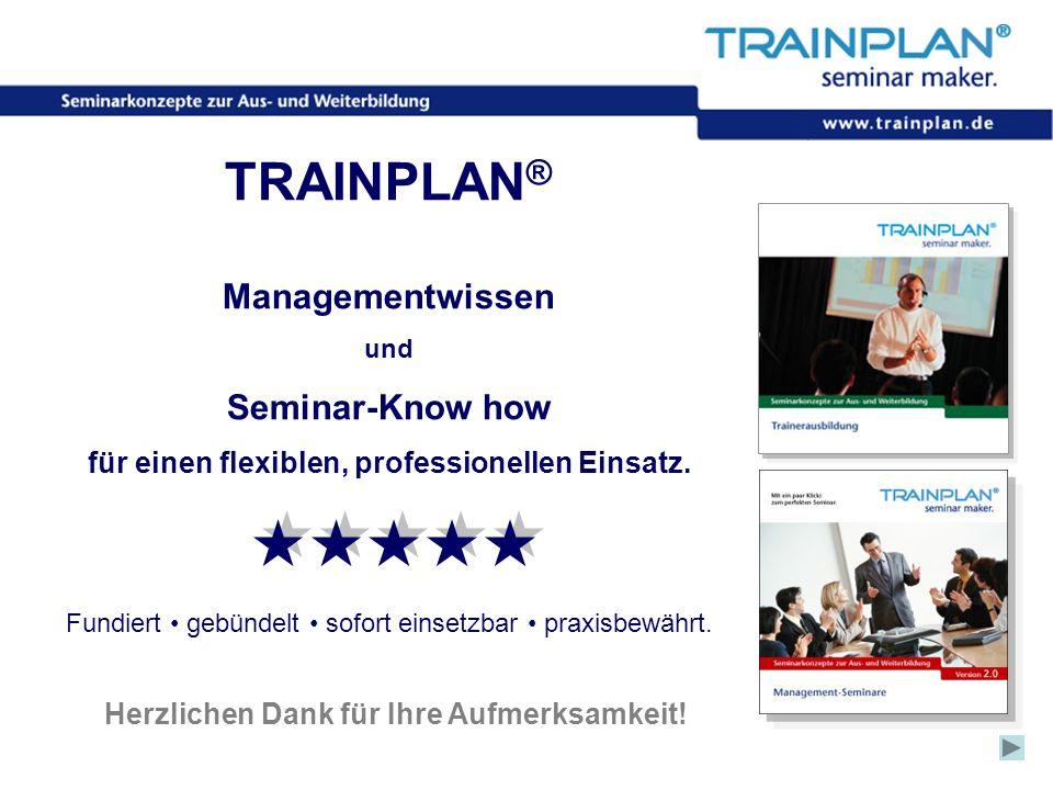 Folie 61 ©TRAINPLAN ® 2006 Herzlichen Dank für Ihre Aufmerksamkeit! TRAINPLAN ® Managementwissen und Seminar-Know how für einen flexiblen, professione
