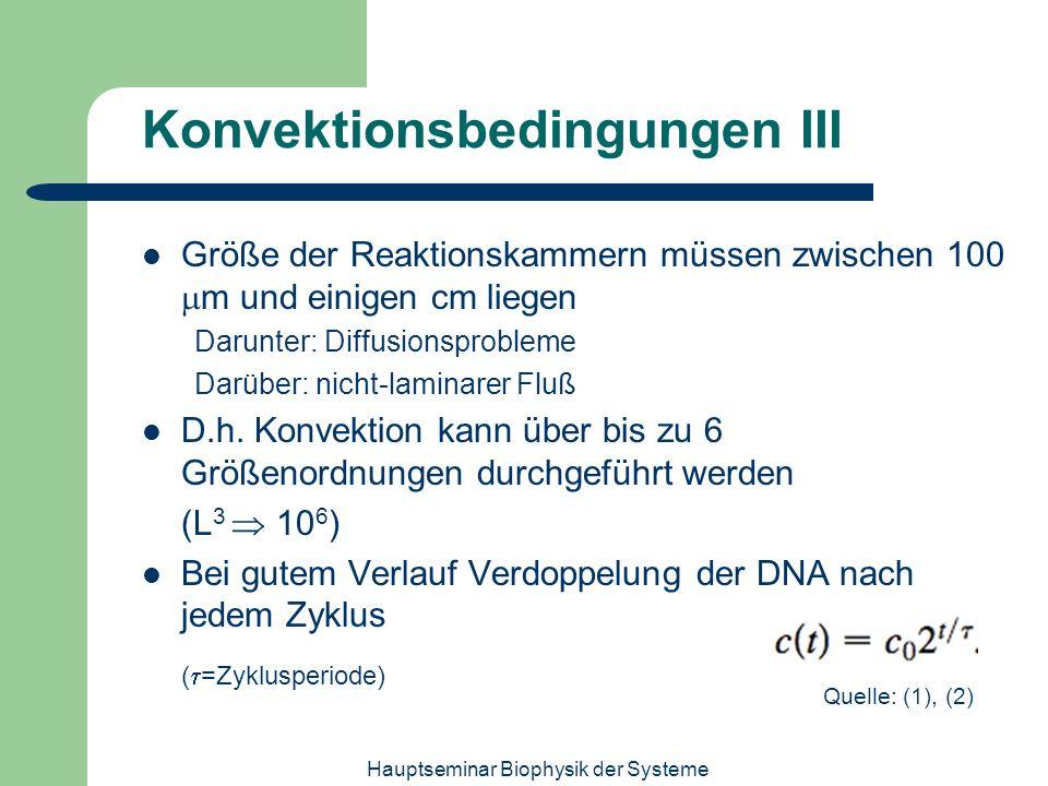 Hauptseminar Biophysik der Systeme Konvektionsbedingungen III Größe der Reaktionskammern müssen zwischen 100 m und einigen cm liegen Darunter: Diffusi