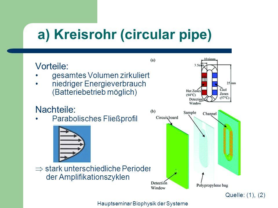 Hauptseminar Biophysik der Systeme a) Kreisrohr (circular pipe) Vorteile: gesamtes Volumen zirkuliert niedriger Energieverbrauch (Batteriebetrieb mögl