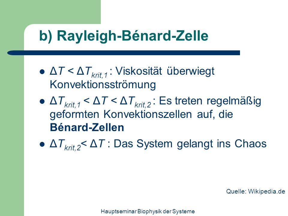 Hauptseminar Biophysik der Systeme b) Rayleigh-Bénard-Zelle ΔT < ΔT krit,1 : Viskosität überwiegt Konvektionsströmung ΔT krit,1 < ΔT < ΔT krit,2 : Es