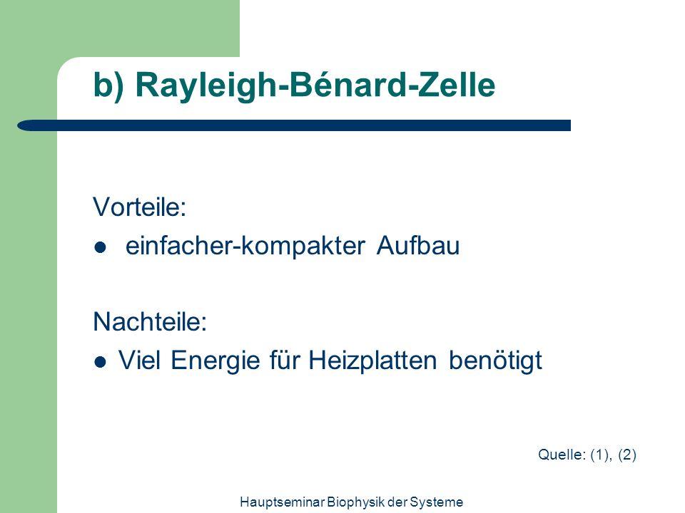Hauptseminar Biophysik der Systeme b) Rayleigh-Bénard-Zelle Vorteile: einfacher-kompakter Aufbau Nachteile: Viel Energie für Heizplatten benötigt Quel