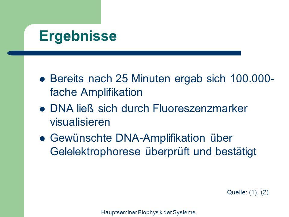 Hauptseminar Biophysik der Systeme Ergebnisse Bereits nach 25 Minuten ergab sich 100.000- fache Amplifikation DNA ließ sich durch Fluoreszenzmarker vi