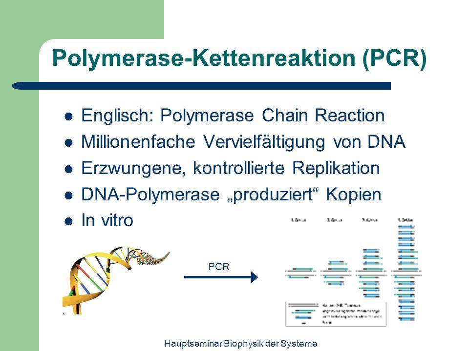 Hauptseminar Biophysik der Systeme Polymerase-Kettenreaktion (PCR) Englisch: Polymerase Chain Reaction Millionenfache Vervielfältigung von DNA Erzwung