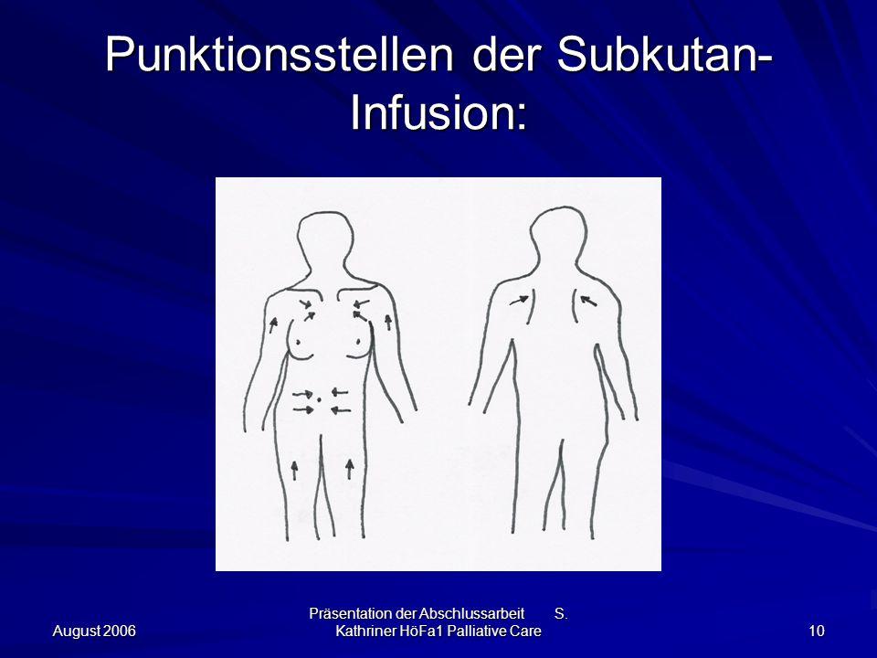 August 2006 Präsentation der Abschlussarbeit S. Kathriner HöFa1 Palliative Care 10 Punktionsstellen der Subkutan- Infusion: