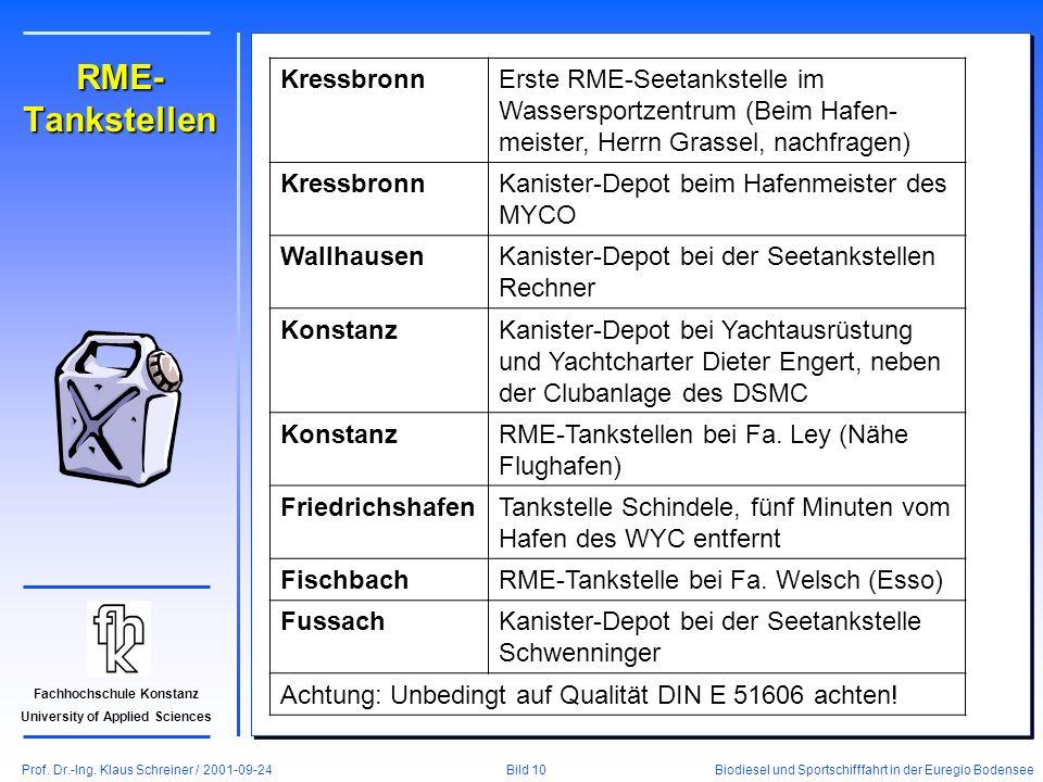 Prof. Dr.-Ing. Klaus Schreiner / 2001-09-24 Biodiesel und Sportschifffahrt in der Euregio Bodensee Bild 10 Fachhochschule Konstanz University of Appli