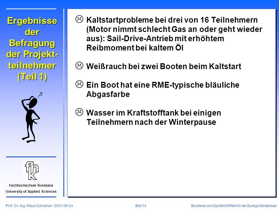Prof. Dr.-Ing. Klaus Schreiner / 2001-09-24 Biodiesel und Sportschifffahrt in der Euregio Bodensee Bild 14 Fachhochschule Konstanz University of Appli