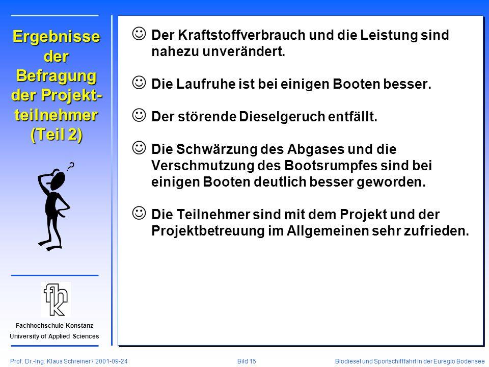 Prof. Dr.-Ing. Klaus Schreiner / 2001-09-24 Biodiesel und Sportschifffahrt in der Euregio Bodensee Bild 15 Fachhochschule Konstanz University of Appli