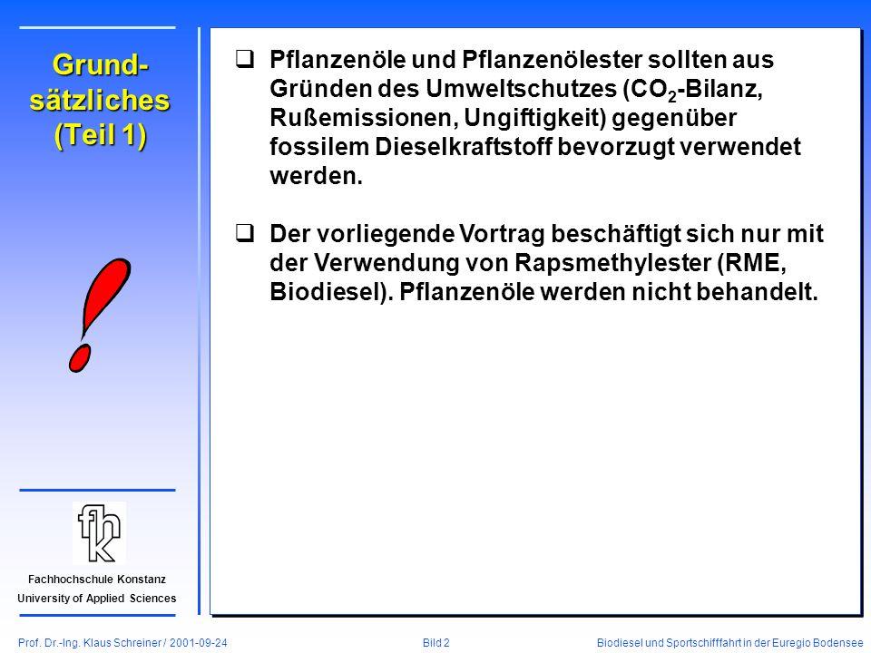 Prof. Dr.-Ing. Klaus Schreiner / 2001-09-24 Biodiesel und Sportschifffahrt in der Euregio Bodensee Bild 2 Fachhochschule Konstanz University of Applie