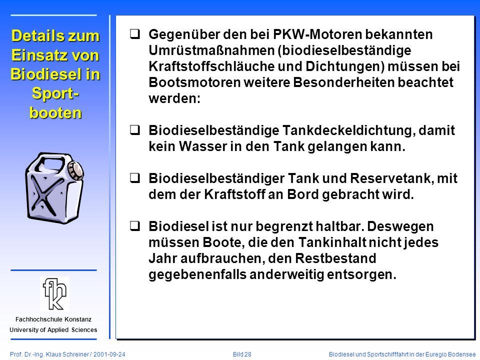 Prof. Dr.-Ing. Klaus Schreiner / 2001-09-24 Biodiesel und Sportschifffahrt in der Euregio Bodensee Bild 28 Fachhochschule Konstanz University of Appli