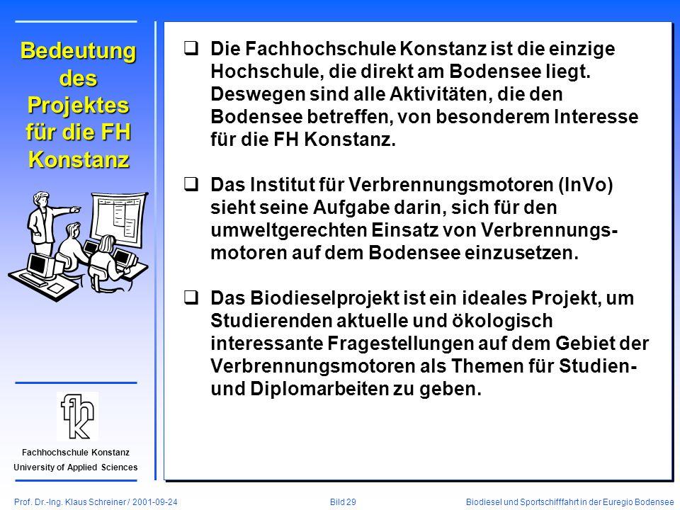 Prof. Dr.-Ing. Klaus Schreiner / 2001-09-24 Biodiesel und Sportschifffahrt in der Euregio Bodensee Bild 29 Fachhochschule Konstanz University of Appli