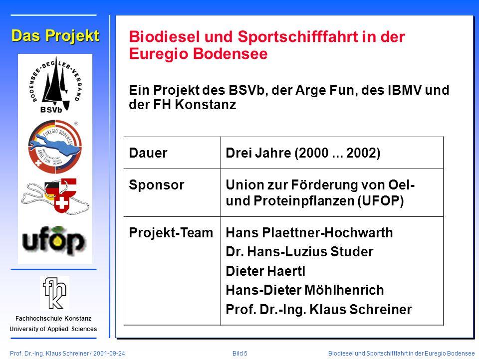 Prof. Dr.-Ing. Klaus Schreiner / 2001-09-24 Biodiesel und Sportschifffahrt in der Euregio Bodensee Bild 5 Fachhochschule Konstanz University of Applie