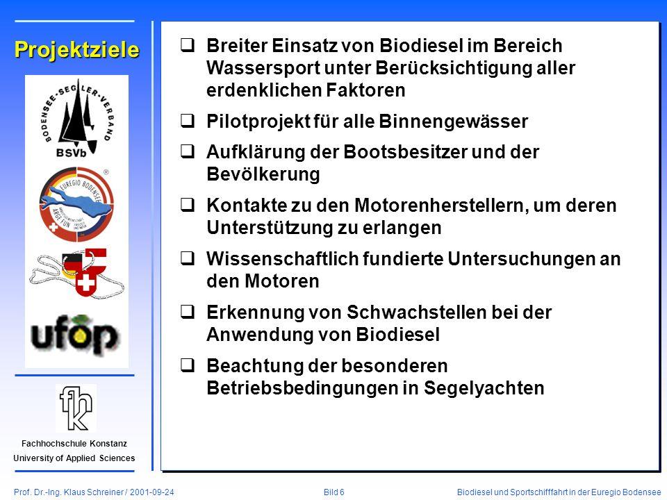 Prof. Dr.-Ing. Klaus Schreiner / 2001-09-24 Biodiesel und Sportschifffahrt in der Euregio Bodensee Bild 6 Fachhochschule Konstanz University of Applie