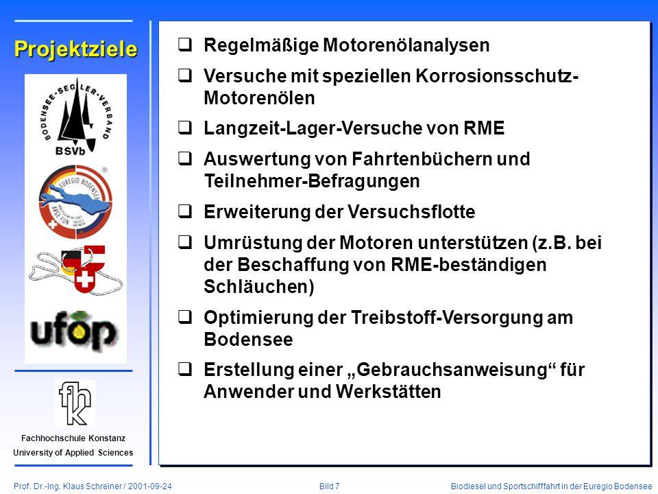 Prof. Dr.-Ing. Klaus Schreiner / 2001-09-24 Biodiesel und Sportschifffahrt in der Euregio Bodensee Bild 7 Fachhochschule Konstanz University of Applie
