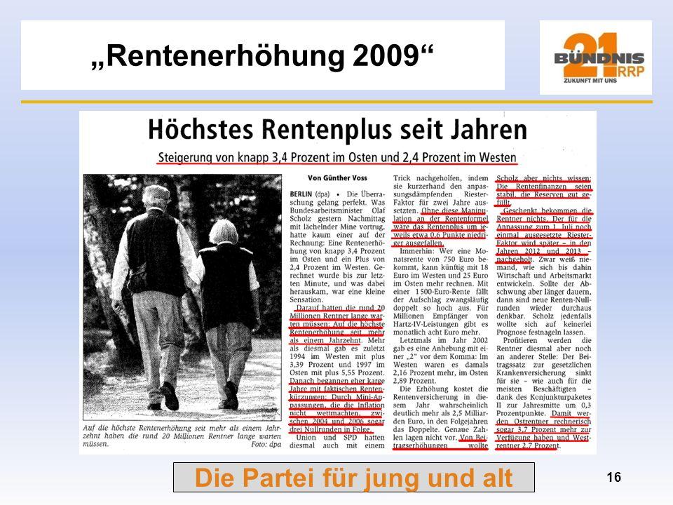 Die Partei für jung und alt Rentenhöhen Frauen in % 15 Stand 31.12.2006