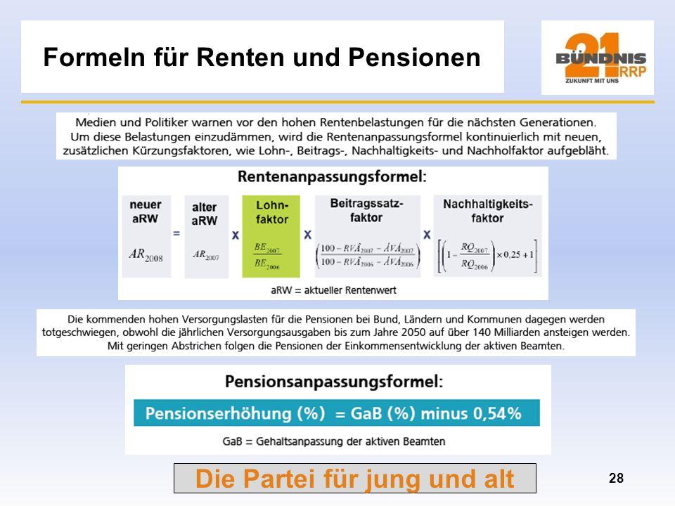 Die Partei für jung und alt Auswirkungen der Rentenangleichung 27